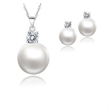 цена Wholesale Price Top Quality Wedding Jewelry Set Water Pearl Earrings Necklace 925 Sterling Silver Pendant Necklace онлайн в 2017 году