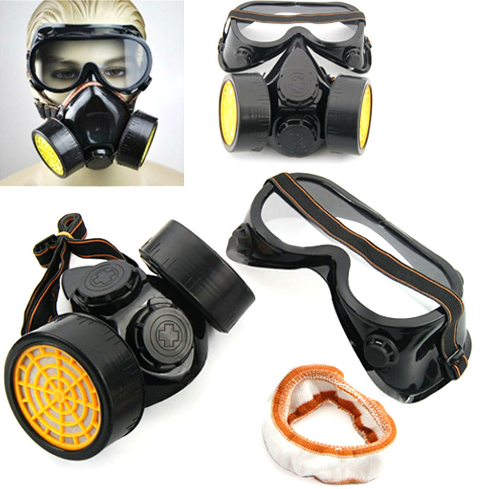 Industrial Chemical Gas Anti Dust Spray Paint Dual Respirator Mask With Goggles Safety Work Filter Dust Mask|Masks| |  - title=