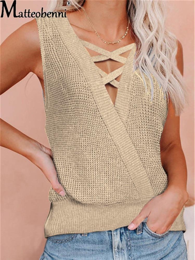 2021 verão nova cor sólida moda camisola de seda de gelo de malha feminina moda sem mangas algodão com decote em v solto emenda camiseta fêmea