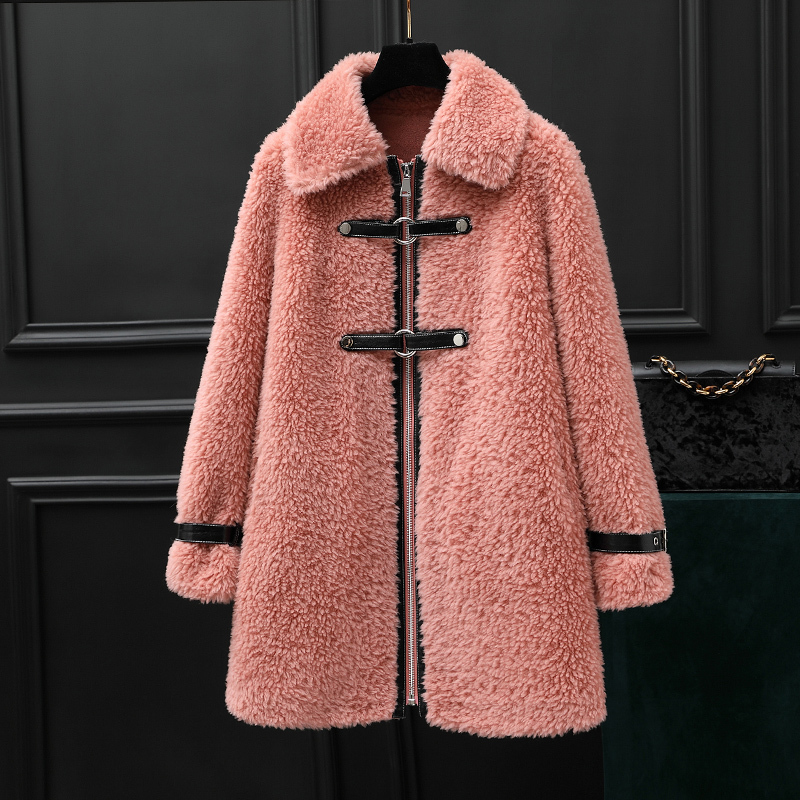 Real Fur Coat Wool Jacket Autumn Winter Coat Women Clothes 2020 Korean Vintage Sheep Shearling Suede Lining Women Tops ZT3911