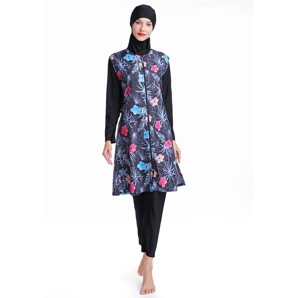 Women Muslim Swimwear Floral Print Full Cover Swimsuit hijab Islamic Islam Burkinis Beachwear Swimming Bathing Suit