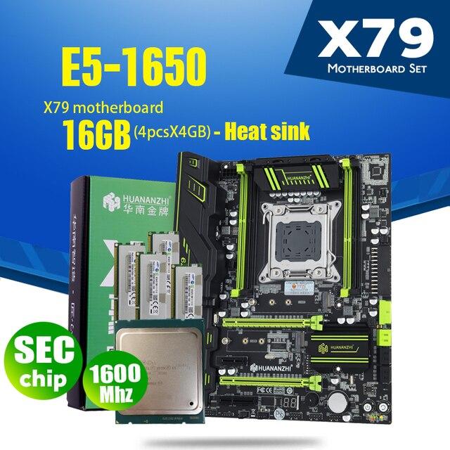 HuananzhiゴールデンX79マザーボードLGA2011コンボE5 1650 C2 4個のx 4ギガバイト = 16ギガバイト1600 pci e nvme M.2 ssd USB3.0ヒートシンク