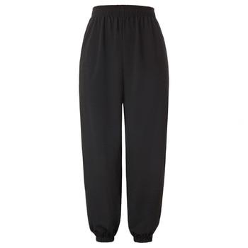 KK las mujeres de cintura alta pantalones de cintura elástica suelta Pantalones deportivos para correr elástico en la cintura y los pies pantalones elástico apertura de la pierna.