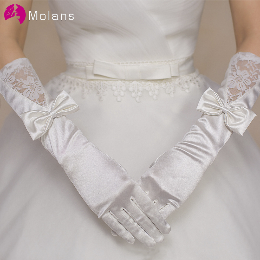 MOLANS Matte Satin Bridal Gloves Short Lace Trim Ivory Wedding Bridal Accessory Wrist Length Wedding Glove