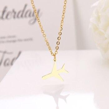 Ожерелье DOTIFI из нержавеющей стали для женщин, маленький чокер в виде самолета, цепочка с подвеской, золотые ожерелья, ювелирные изделия для ...