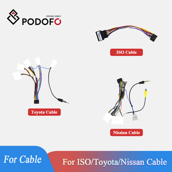 Podofo 2 Din Car radio Car Multimedia Player for Universal Accessories Adapter Connector Plug Cable for VW Nissian Toyota Wire image