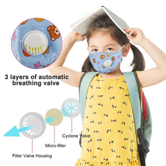 PM2.5 Face Mask Kids  Mask Cute Breathable Valve Mouth Mask Filter Pad Pollution Activated Carbon Filter Summer Cotton Masks 3