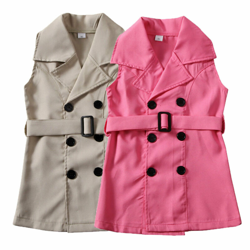 Sweet Toddler Baby Girl Kids   Trench   Sleeveless Waistsuit Outfit Clothes Children   Trench   Kids Girl Outerwear Winter Coats