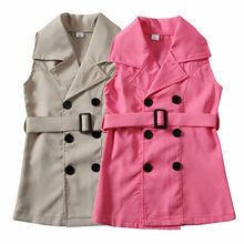 Sweet Toddler Baby Girl Kids Trench Sleeveless Waistsuit Outfit Clothes Children