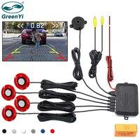 GreenYi-Sensor de aparcamiento con vídeo para coche, Detector de Radar de respaldo inverso, asistencia con sensores planos ajustables de 16mm, compatible con entrada de vídeo