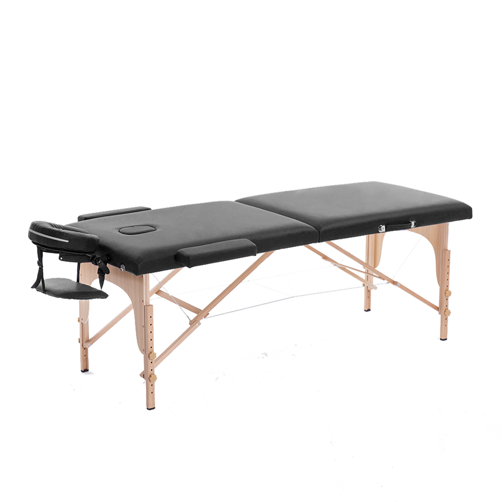 Professional Portable Massage Table Facial Spa Bed Salon Furniture Folding Adjustable Face Cradle Black Leather Massage Bed