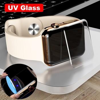 3D zakrzywione pełna pokrywa folia do Apple Watch Series SE 6 4 5 40mm 44mm osłona ekranu pełna klej UV szkło dla serii 1 2 3 38 42mm tanie i dobre opinie YanXuCase TEMPERED GLASS CN (pochodzenie) Folia na przód UV Tempered Glass 100 Brand New Tempered Film Top Level Support