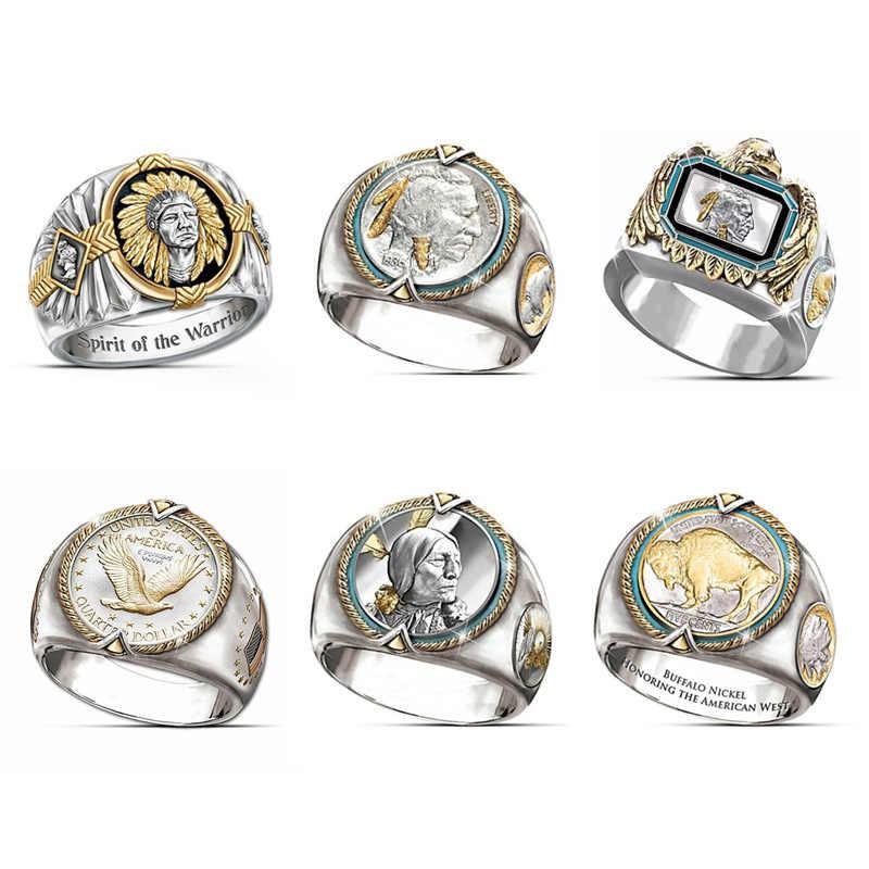 Búfalo níquel en honor al anillo de oro americano del oeste anillos de moneda de 1938 dólares hombres hombre indio jefe vikingo joyería de regalo para