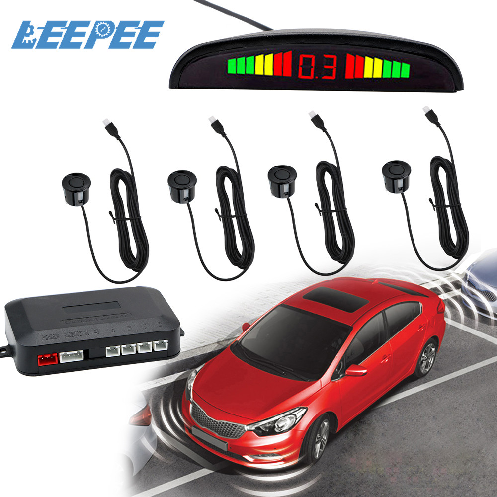 12V Car Auto Parktronic LED Parking Sensor Display with 4 Sensors Car Parking Radar Reverse Backup Monitor Detector System Kits