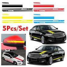 Universal Car Side Stripes Decal Sticker Side Body Decals Wrap Vinyl Film Long Strip Self Adhesive Stickers Waterproof