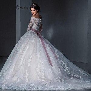 Вырез лодочкой винтажные, с длинными рукавами с украшением в виде кристаллов мяч бальное платье свадебное платье с поясом, с застежкой-молн...