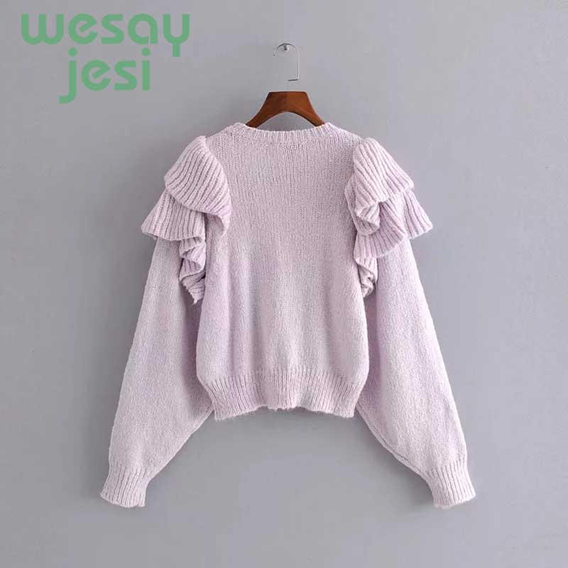2019 NEW Sweaters Women harajuku Ruffle O neck Knitted Pullovers Women Autumn Winter Warm Sweaters Mujer pullover in Pullovers from Women 39 s Clothing
