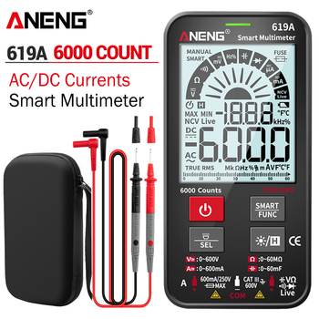 ANENG 619A Digital Multimeter True RMS 6000 Counts Testers AC/DC Currents Voltage Professional Analog Bar Multimetro NCV Meter aneng st184 digital multimeter clamp meter true rms 6000 counts professional measuring testers ac dc voltage ac current ohm