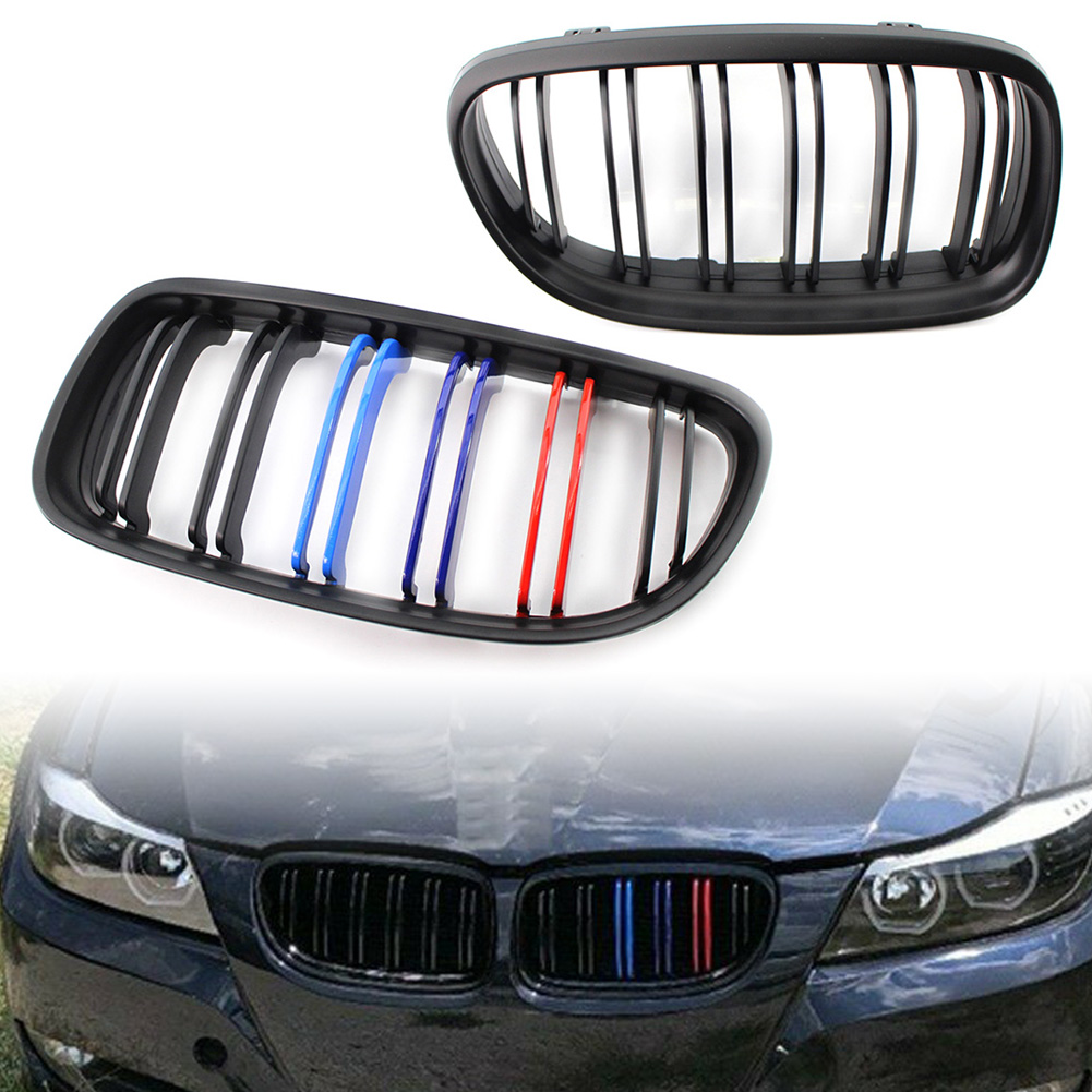 2Pcs Car M-Color Front Kidney Grille For 2009 2010 2011 2012 BMW E90 E91 LCI 328i 335i Matte Black ABS Double Lines Grill image