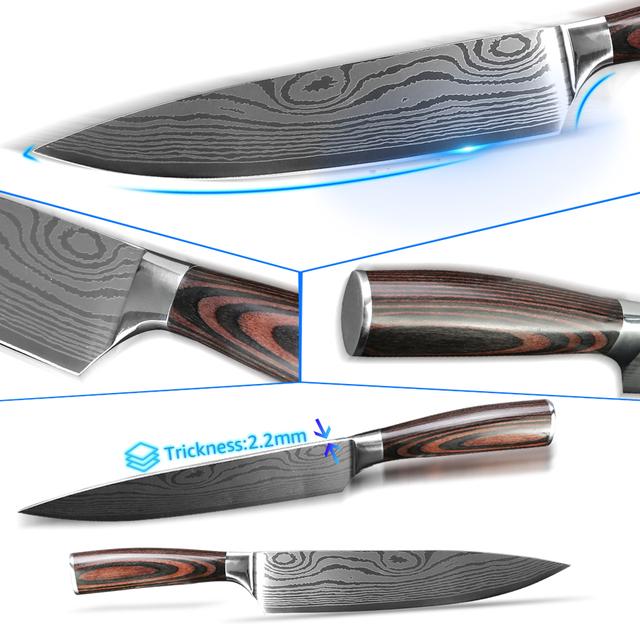Kitchen Knives 7CR17 Etched Stainless Steel Blades 2