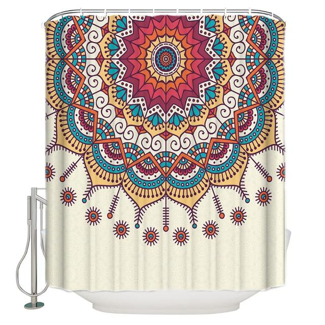 Mandala Shower Curtain Ethnic Indian Flower Circle On Lace Ornaments Traditional Boho Design Fabric Bathroom Decor Set Shower Curtains Aliexpress