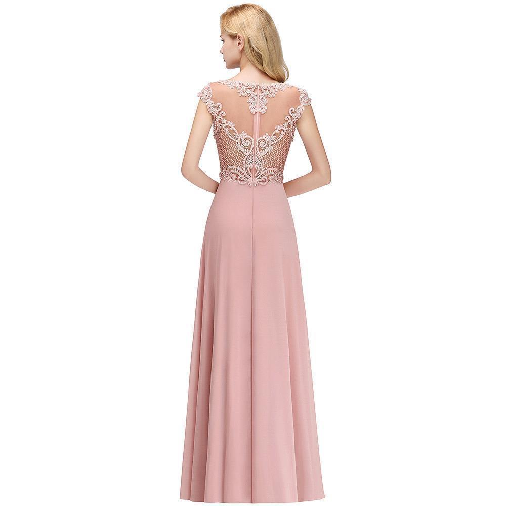 Pink Chiffon Long Bridesmaid Dresses 2019 Elegant A line Sleeveless Wedding Party Guest Gown Applique Pearl vestido madrinha