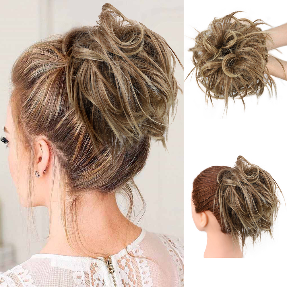Messy Hair Bun Scrunchie For Women Hairpiece Extensions Synthetic Wig Ring Wrap Chignon Black Brown  High Temperature Fiber
