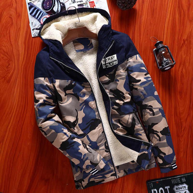 Ceketler polar kamuflaj erkek mont kış aşağı ve Parkas ceketler marka-giyim giysileri sıcak kalınlaşmak kapşonlu palto asya boyutu