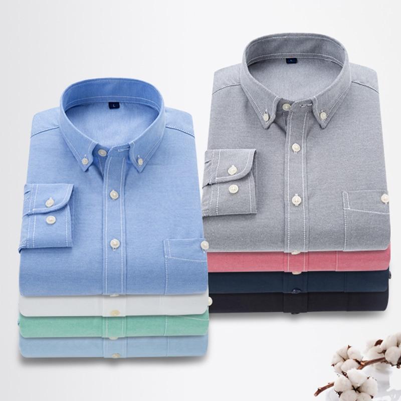 019 Men Shirt Spring Autumn Casual Long Sleeve Shirt Soft Comfort Slim Fit Styles Shirt Men Dress Shirts Comfortable Clothing