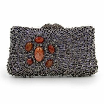 Bolso de noche de piedra de ópalo grande de lujo bolso de fiesta Vintage monederos de cena para mujer y bolsos de moda para mujer Mini teléfono caso