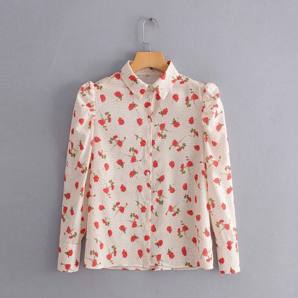2020 new women sweet flower print dot blouses female puff sleeve casual shirt autumn long sleeve blusas chic chemise tops LS4035
