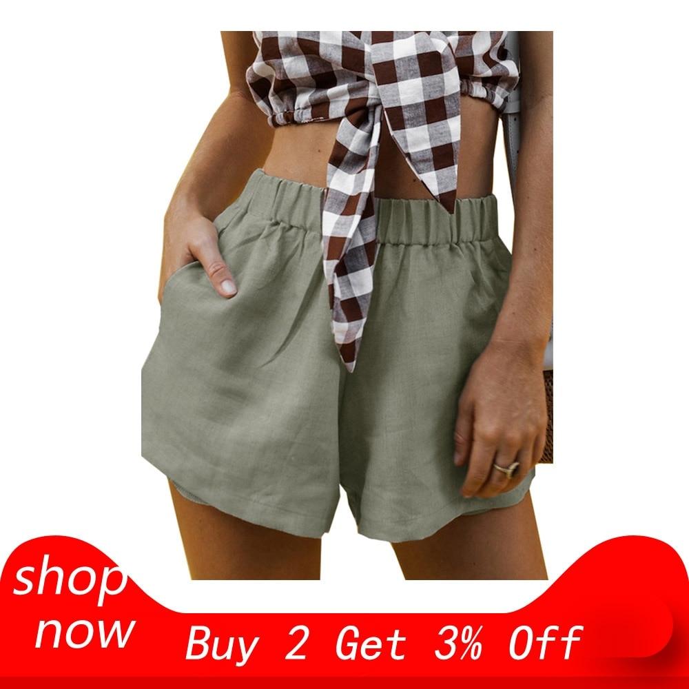 Solid-Shorts Sports-Elastic Women Summer Waist-Pockets Comprehensive-Training Wide-Leg