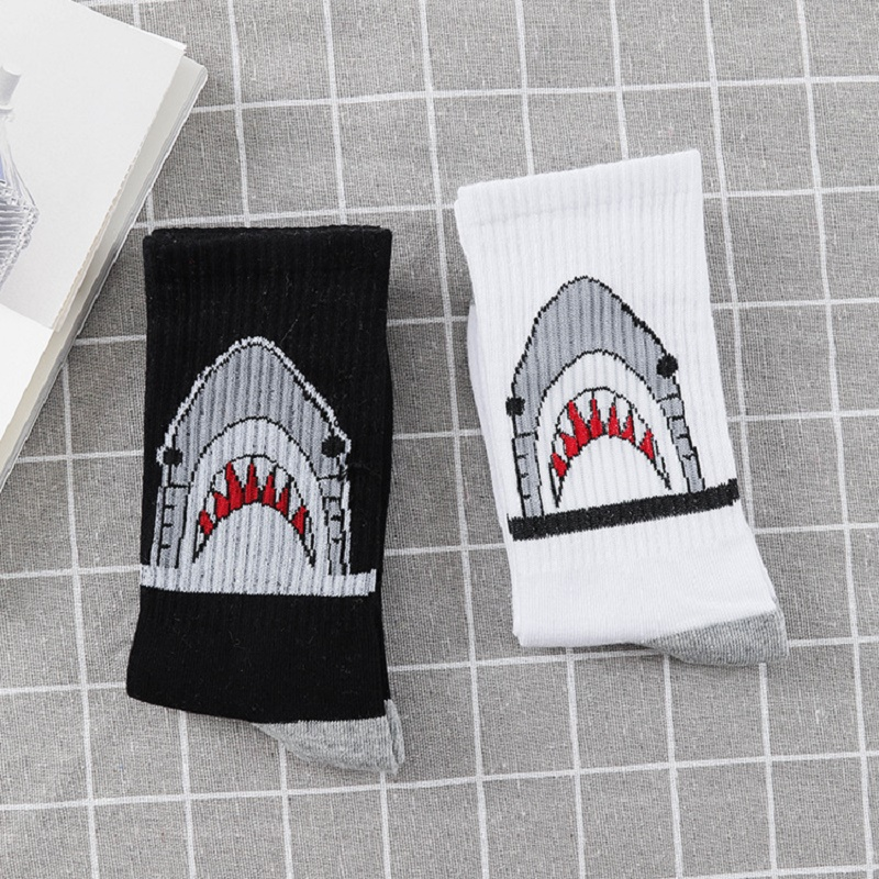 Black White Crew Socks Fashion Shark  Cartoon Hiphop Street Sport Skateboard Hip Hop Socks Men Long Socks