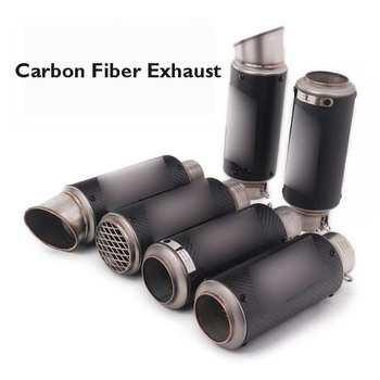 Motorcycle 51/60mm Exhaust Pipe Carbon Fiber Muffler Escape Tip Silencer Tail Vent Pipe for Universal Motorbike