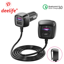 Deelife Car Charger Rear Seat with 4 USB Ports Mobile Phone Adapter QC 3.0 Socket Auto Splitter for Front Back Passenger
