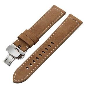 Image 2 - Itália pulseira de couro genuíno para huami amazfit gtr 47mm 42mm relógio inteligente banda liberação rápida borboleta fecho pulseira