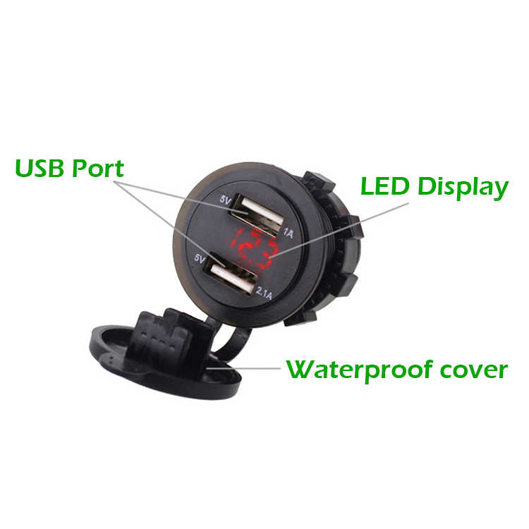 Adaptador duplo do carregador do carro do soquete de eafc 5 v 3.1a usb com voltímetro digital do diodo emissor de luz para a motocicleta 12-24 v do barco da tabuleta da almofada do telefone