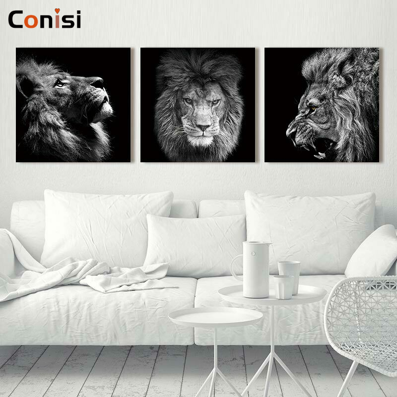 Conisi 3 패널 동물 사자 그림 추상 벽 예술 그림 캔버스에 포스터 인쇄 홈 장식 침실 장식