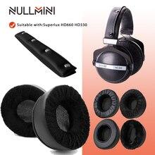 NullMini وسادات أذن بديلة من الجلد المخملي السميك ، لـ Superlux HD660 HD330