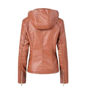 Image 2 - Blouson automne hiver similicuir 2019 de marque Plus velours pour moto, sweat à capuche pour femme