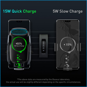 Image 3 - Baseus 15ワットチーワイヤレス車の充電器iphone 11高速車のワイヤレス充電ホルダー三星S20 xiaomi mi 9誘導充電器