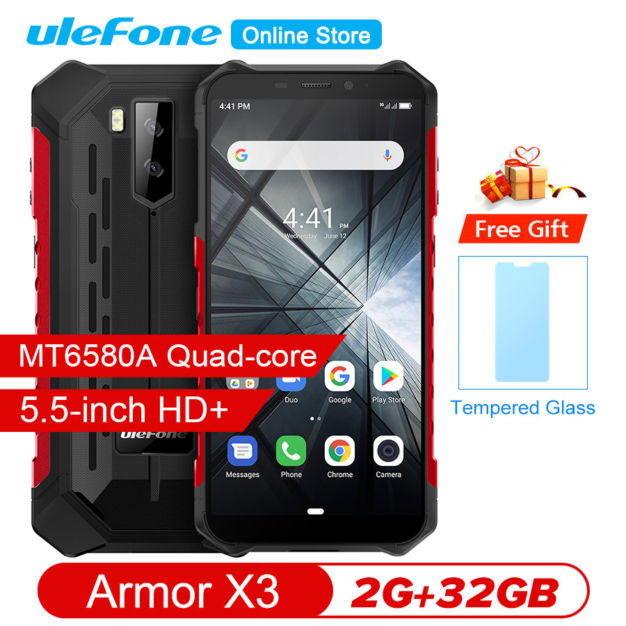 "Ulefone Armor X3 5.5""HD MT6580 Android 9.0 IP68 Rugged Smartphone 18:9 Quad Core 2GB 32GB 13MP 5000mAh 5V/1A Mobile Phone-in Cellphones from Cellphones & Telecommunications"