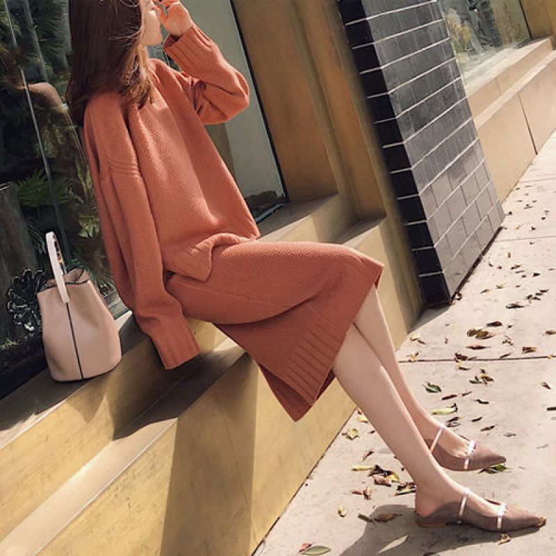 Women Sweater Set Knitted 2PC Bag Hip O-neck Thin Long Sleeve Sweater And Mini Skirt Female Winter Clothes