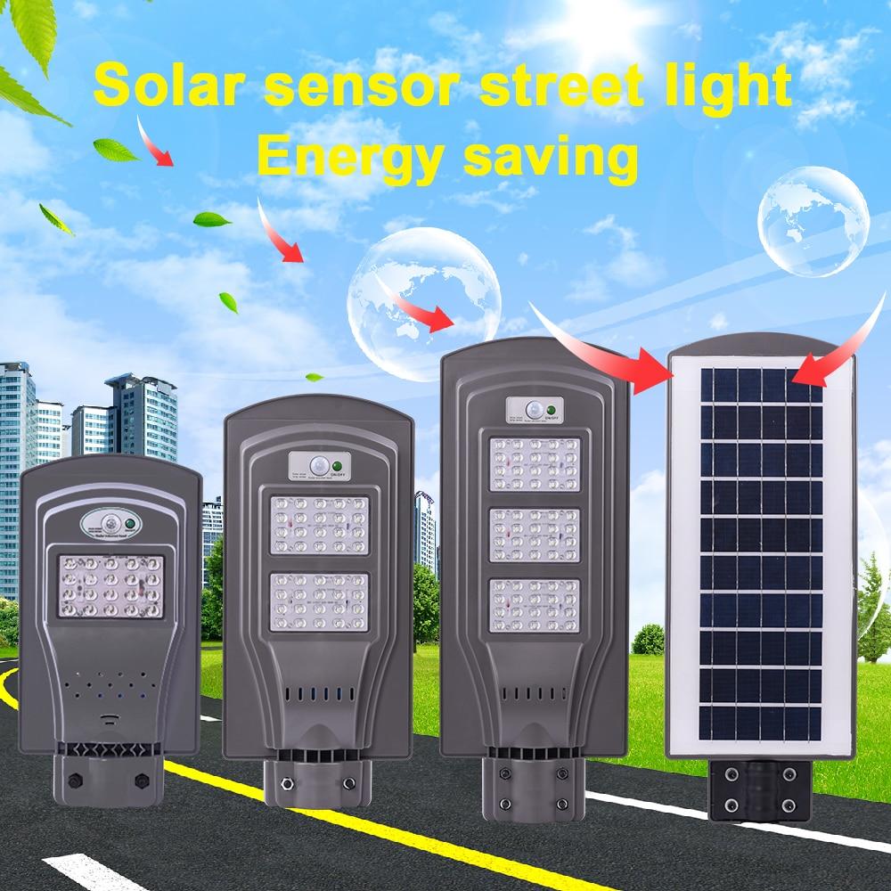 LED Solar Street Light 20W 40W 60W LED Light Radar PIR Motion Sensor Wall Timing Lamp+Remote Waterproof for Plaza Garden Yard