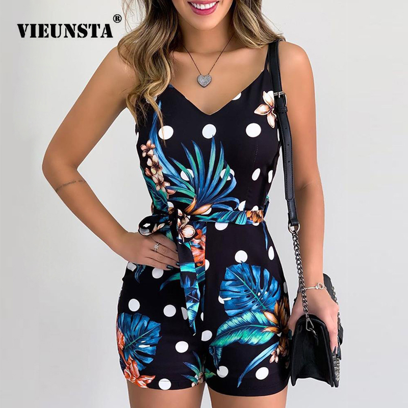 Women Jumpsuit Summer V-neck Floral Print Beach Romper Women 2020 Spring Backless Party Playsuit Sleeveless Straps Overalls Belt