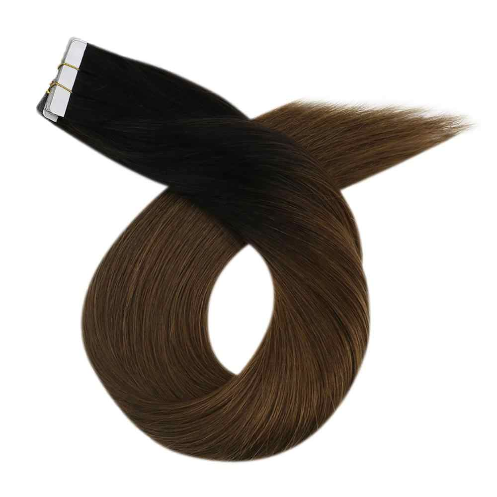 Human Hair Extensions Tape in Two Tone Color 12-24'' Natural Straight Machine Remy 20P/40P Seamless Invisible Skin Weft Hair