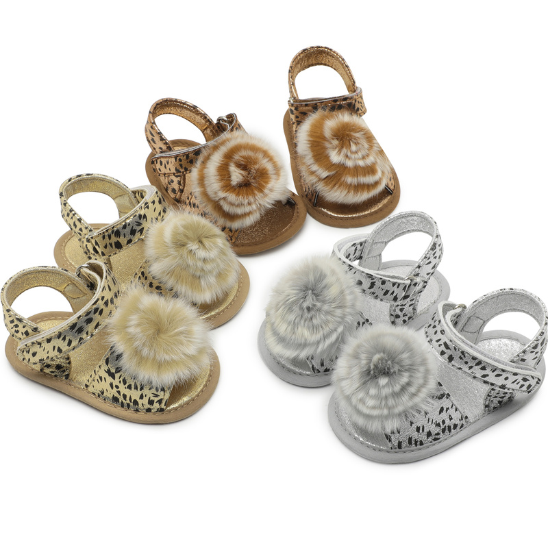 Baby Girl Shoes Leopard Shoes Sandal Toddler Infant New PU Soft Sole Outdoor Walking First Walkers Summer Gold Silver Shoes