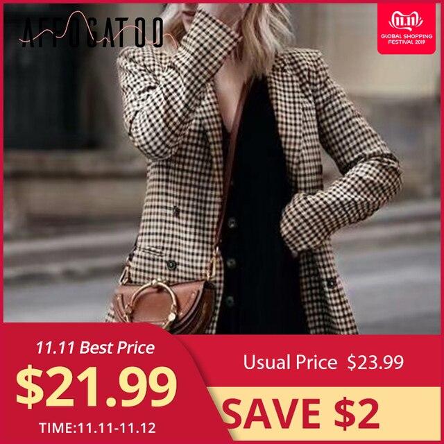 Affogatoo Moda doppio petto plaid blazer maglia A manica Lunga OL sottile della giacca sportiva 2018 casual autunno giacca giacca sportiva femminileBlazer