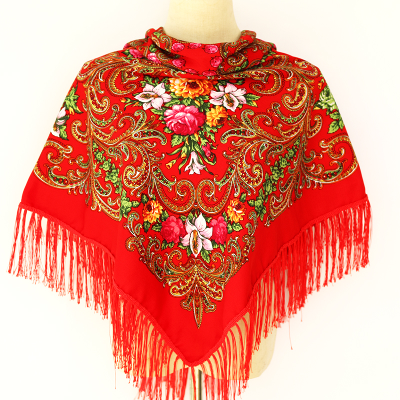 New Fashion Women Printed Square Shawl Russian Women Wedding Scarf Retro Style Lady Tassel Ethnic Paisley Cotton Autumn Scarf