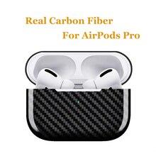 Véritable étui en Fiber de carbone pour Apple AirPods Pro sans fil charge Bluetooth casque Ultra mince couverture pour AirPods 3 accessoires